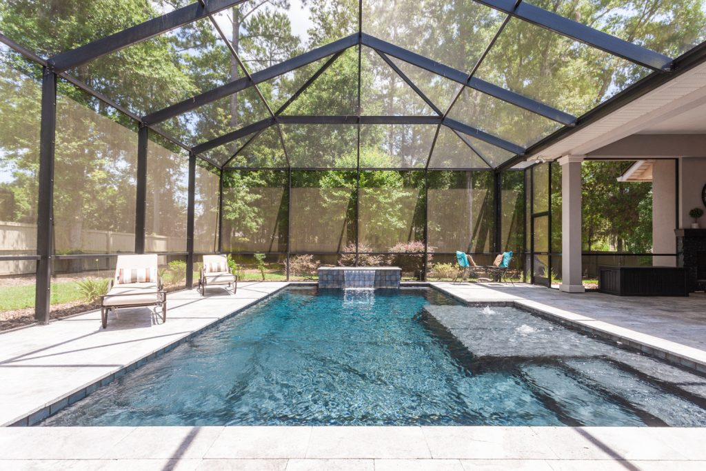 Former Bullard Parade home saltwater pool and waterfall Wilds Plantation