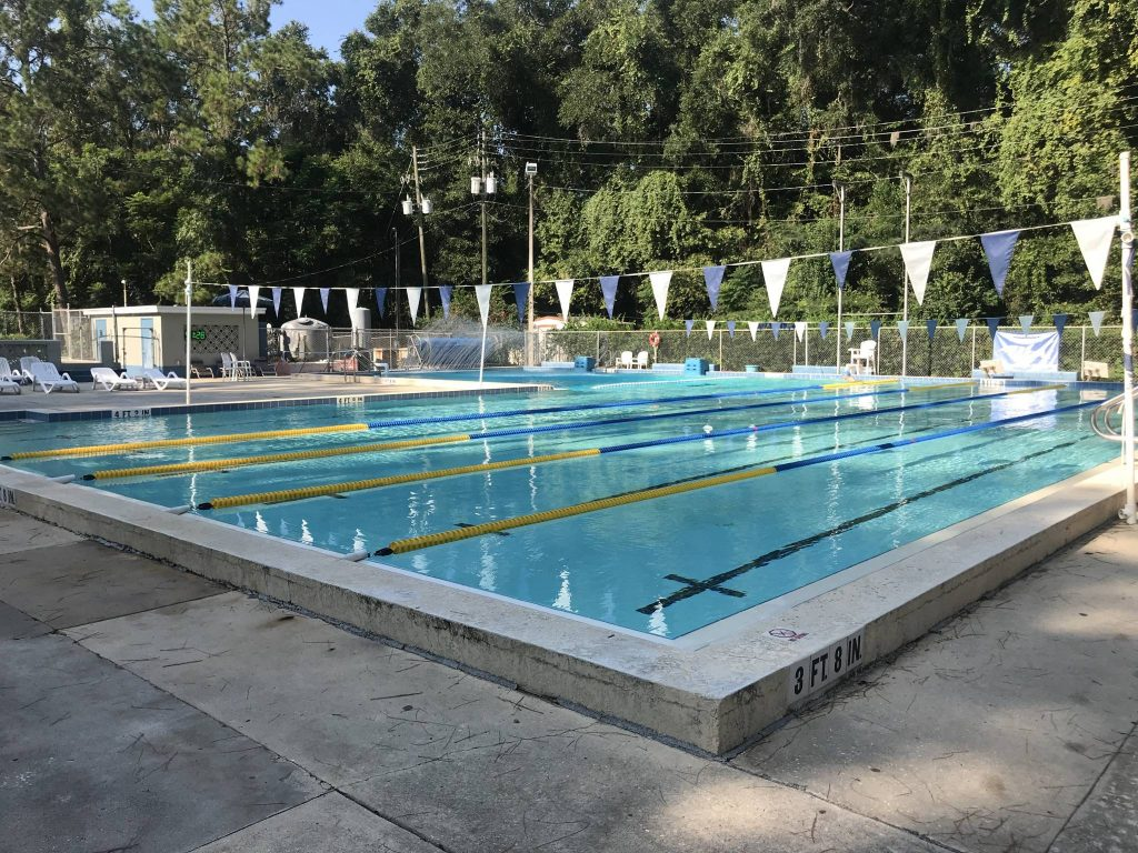 The 25 yard pool at the 300 Club in Gainesville is heated year round